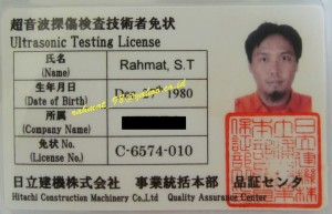 NDT License from HCM jepang